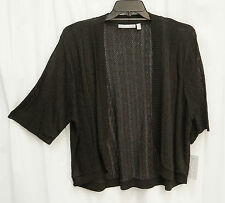 VERY BLACK SOFT OPEN FRONT/WEAVE KNIT CROCHET CARDIGAN JACKET SWEATER TOP~3X~NW