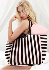 Victoria's Secret Pink Black Striped Large Travel Weekender Tote Bag Pouch NWT
