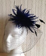navy feather black veiling fascinator millinery hair clip ascot wedding bridal