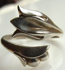 Avon Sterling Silver Tulip Bypass Ring Adjustable sz 8 1/4