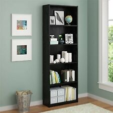 Black Bookcase 5 Shelf Adjustable Bookshelf Wood Furniture Storage Shelving Book