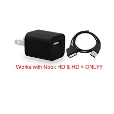 HOUSE WALL POWER CHARGER +USB CABLE FOR BARNES & NOBLE NOOK HD 7 TABLET 8GB 16GB