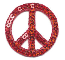 PEACE SIGN, RED SEQUINS - Iron On Embroidered Applique Patch, Patriotic, 50's