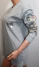 VICTORIA'S SECRET Pink Campus Pocket Bling Gray T-Shirt Small Oversize NWT