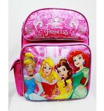 "Disney Princess 14"" Medium Backpack Bag Pink Disney- Cinderella Aurora Ariel"