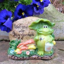 """""""Welcome to my Garden"""", Vintage Garden Ornament, Frog, Flowers, Dragonfly"""