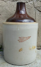Rare Antique Vintage Primitive Red Wing 1 Gallon Brown Top Stoneware Whisky Jug