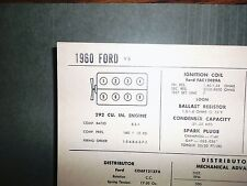 1960 Ford 292 CI V8 SUN Electric Corp Tune Up Chart Excellent Condition!