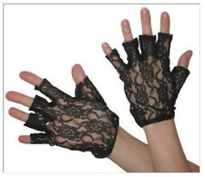 80's Black Lace Fingerless Gloves Madonna 1980's