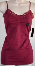 Ladies ATTENTION Seamless STRETCH Wine Tank Cami Top Shirt Lace V-Neck size S/M