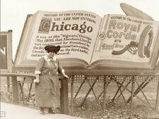 """~Post Card~""""Lady Stands in Front Of -Entering Chicago Billboard-"""""""