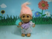 """MOTHER/MOMMY WITH BABY - 5"""" Russ Troll Doll - NEW w/OUT FOOT STICKER - Rare"""