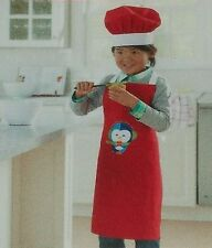 Child's Penguin Chef Hat and Apron Christmas Holiday Red Baking Cooks White Bake