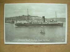 VINTAGE POSTCARD CHANNEL BOAT LEAVING DOVER HARBOUR
