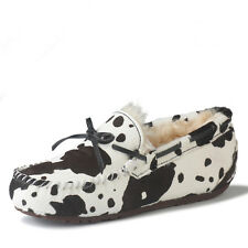 Women Mens Winter Warm Fur Lined Moccasins Loafers Flat Snow Shoes Leopard Print