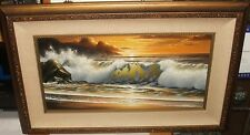 KEMBO HANZAWA LARGE OIL ON CANVAS SEASCAPE AT SUNSET PAINTING CALIFORNIA ARTIST