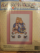 Daisy Kingdom Bucilla Forever Friends Bunny Rabbit Cross Stitch Kit & Frame NIP!