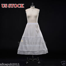 White 2 Hoop Ball Gown Nylon Bridal Petticoat Wedding Dress Crinoline Skirt Slip