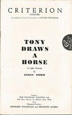 Criterion Theatre London  1939 Tony Draws A Horse Lesley Storm Comedy  Programme
