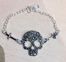 Sugar Skull & Crosses Bracelet, Vintage, Rockabilly, Steampunk, Day of the Dead
