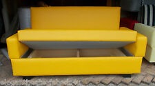 SMALL BRIGHT YELLOW SOFA BED 130CM 2 SEATER SOFA BED STORAGE FAUX LEATHER LOW