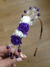 Handmade Brides Bridesmaid Prom - Purple Flower Fascinator Headband, Side Tiara