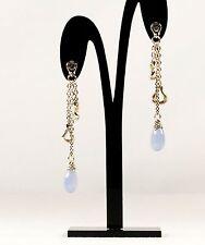 Scott Kay Blue Chalcedony Tear Drop Sterling Silver Earrings Women Lady Gift