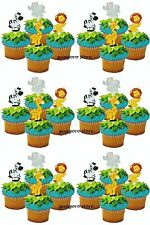 Jungle Safari NOAH'S Cupcake Picks 24 Animal Cake Toppers Birthday Baby Shower