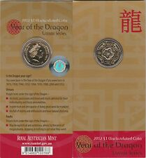 "2012""Lunar Year of ""The Dragon"" Australia $1 Dollar UNC Coin on Card"