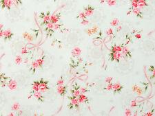 Nostalgie Quiltstoffe Stoffe Rosen Röschen Blüten Schleifen Spitzen rosa creme