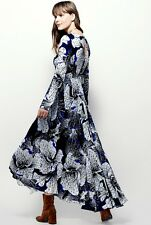 NWT Free People black white blue Babydoll Bold Floral Printed Maxi Swing Dress S