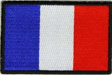 "(C4) FRANCE FLAG 3"" x 2"" iron on patch (5191) Biker French"