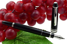 Montblanc Meisterstuck 114 Mozart Black & Platinum Small Fountain Pen 14k M Nib