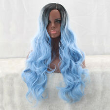 Fashion Curly Long Wig Ombre Black Blue Women Full Hair Wig Cosplay Party Wigs