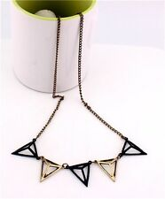 Vintage Enamel Geometry Triangle Pendant Necklace
