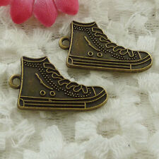 Free Ship 120 pieces bronze plated shoes charms 28x16mm #1320