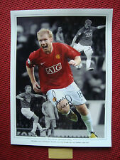 MANCHESTER UNITED PAUL SCHOLES PERSONALLY HAND SIGNED PHOTO 30cmX40cm PROOF- COA