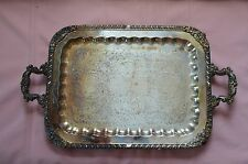 VINTAGE BEAUTIFULLY ETCHED SILVERPLATED FOOTED SQUARE SERVING TRAY, F.B. ROGER .