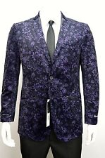 Men's Plum 2 Button Floral Velvet Blazer w/ Leather Trim SIZE 42L NEW