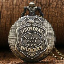 Xmas POLICE Fashion Vintage Quartz Pocket Watch Necklace Mens Womens Students