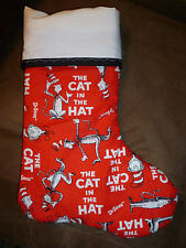 Handmade Christmas Stocking, Cat in the Hat (red) print COMPLETELY LINED