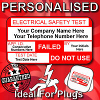 PAT Test FAILED Labels x 130  PERSONALISED or PLAIN