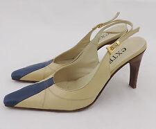Extra Riemenpumps 38 slingbacks Pumps Schuhe beige blau Leder highheels top