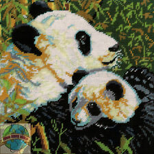 Needlepoint Kit ~ Design Works Mom & Baby Panda Bears Picture / Pillow #DW2522