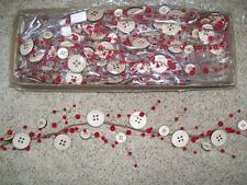 "NWT 47"" Wood BUTTON Red BERRY Christmas Swag GARLAND Sewing theme Craft Decor"