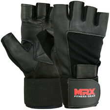 Weight Lifting Gloves Gym Power Training Long Wrist Strap Glove MRX Black, Large