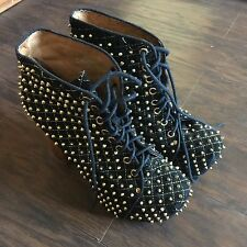 Jeffrey Campbell Black Gold Quilted Studded Lita Leather Platform Booties Q 9