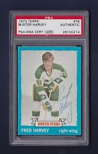 Buster Harvey signed Minnesota North Stars 1973 Topps card Psa Authenticated