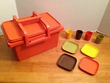 Vintage Tupperware Large Orange Carry All with Lid & Handle + kids picnic dishes