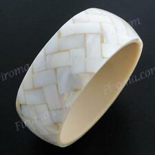 """8"""" LUSTEROUS WIDE WHITE MOTHER OF PEARL SHELL MOSAIC BANGLE bracelet"""
